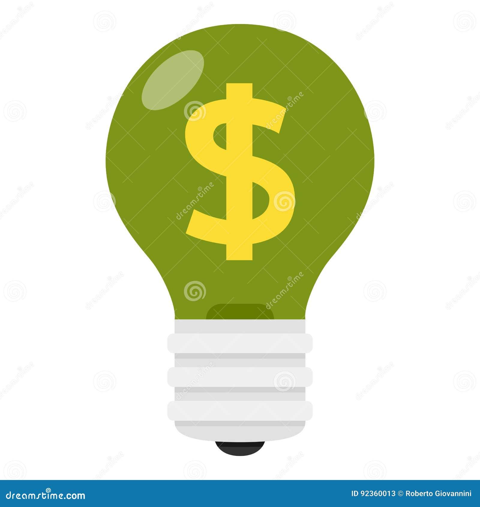 Ampoule de feu vert avec l icône plate de symbole dollar