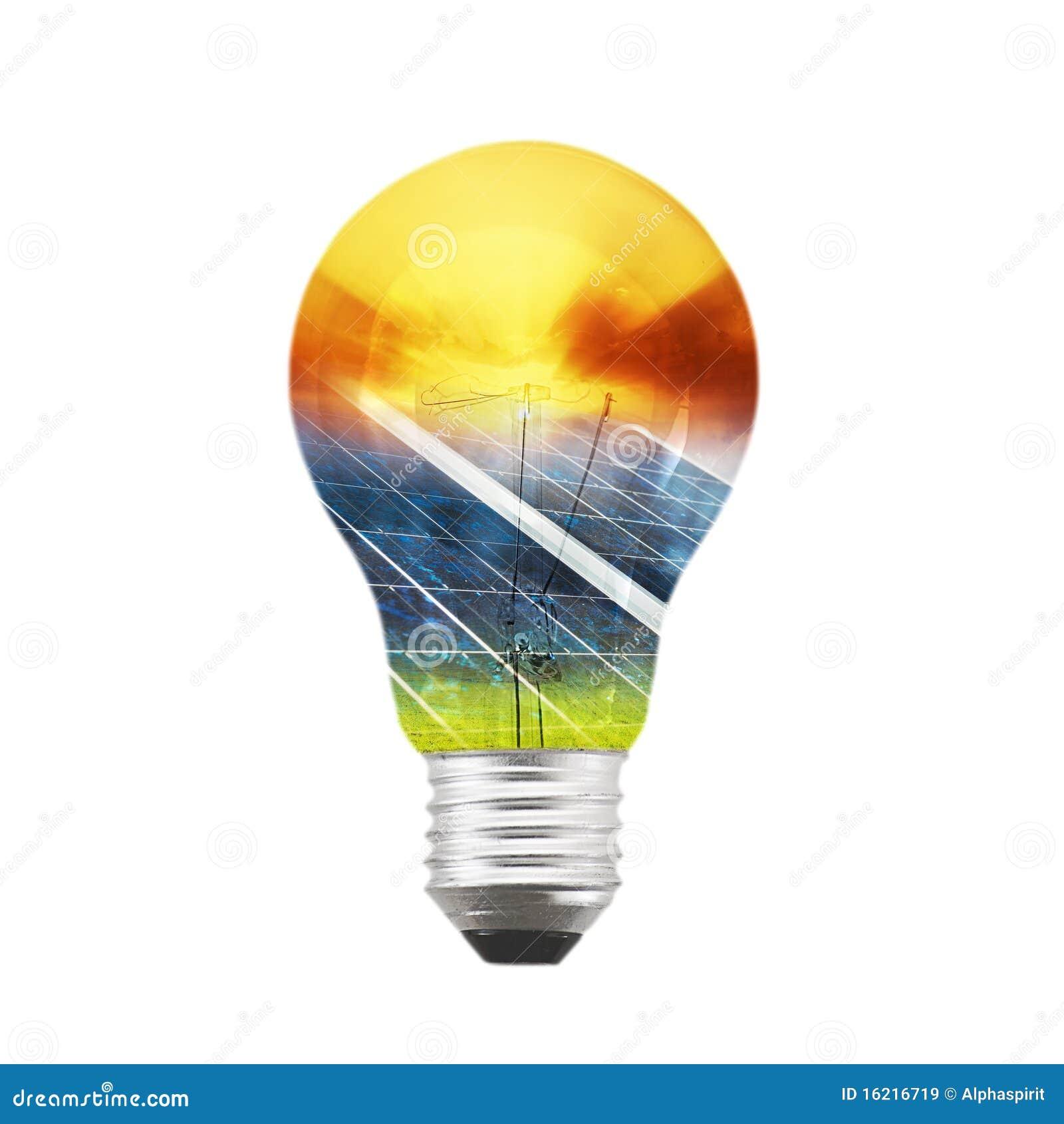 ampoule de panneau solaire image stock image du pouvoir 16216719. Black Bedroom Furniture Sets. Home Design Ideas