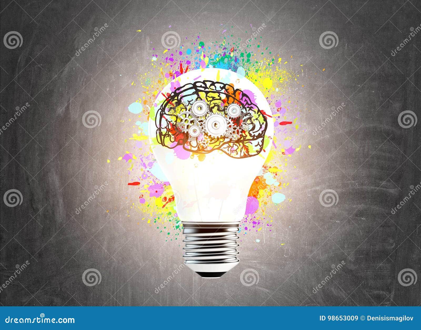 Ampoule et un cerveau avec des dents
