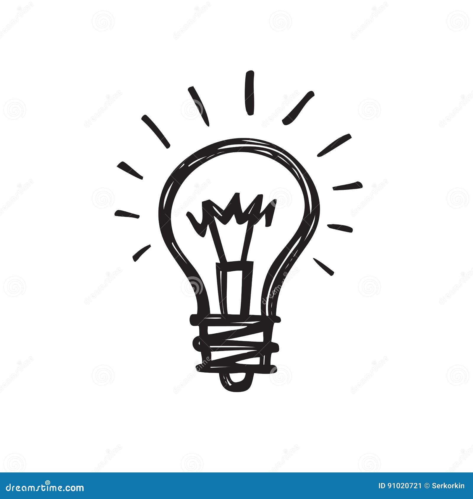 Ampoule - illustration créative de vecteur d aspiration de croquis Signe de logo de lampe électrique