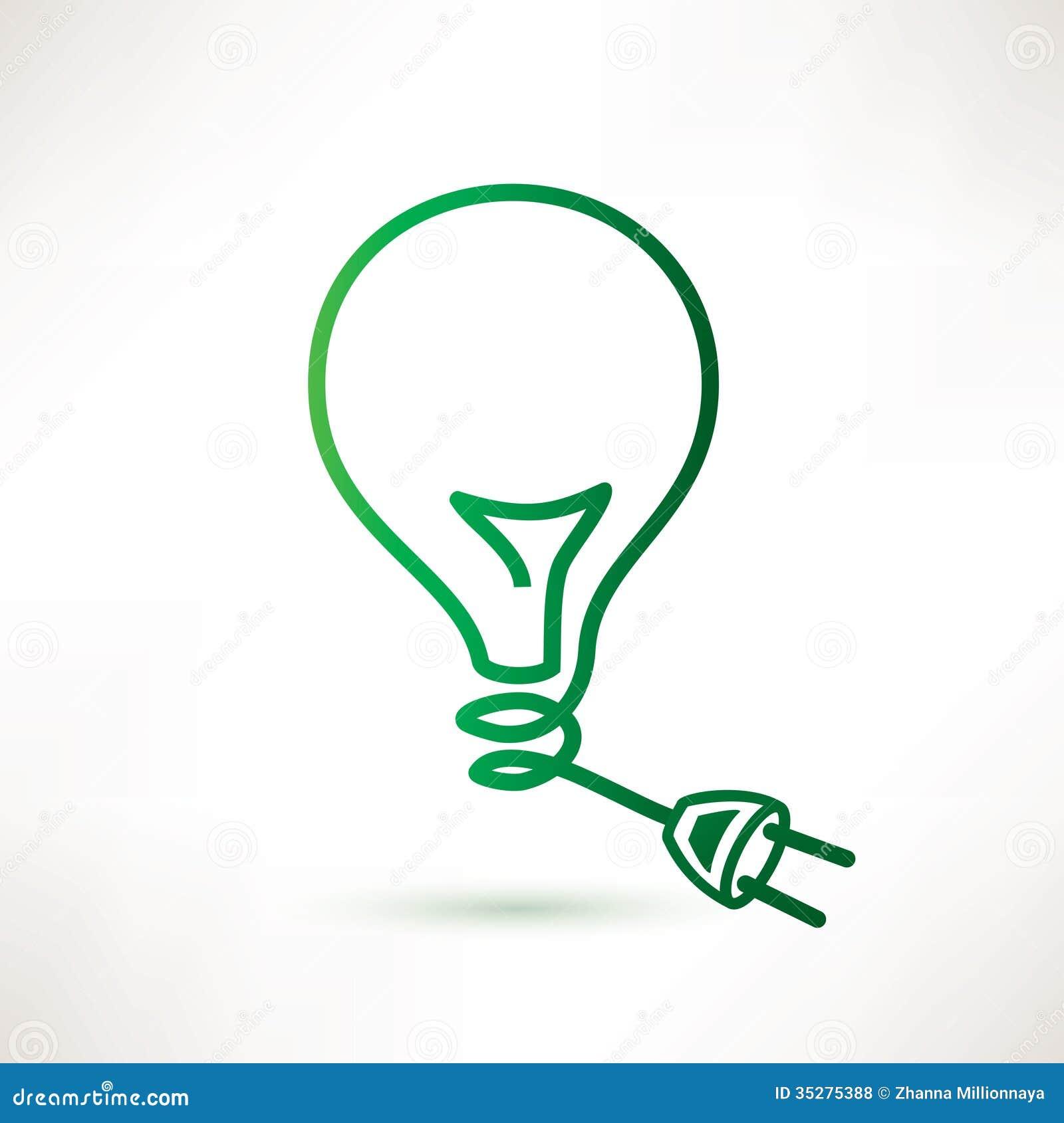 ampoule verte avec la prise photos libres de droits image 35275388. Black Bedroom Furniture Sets. Home Design Ideas