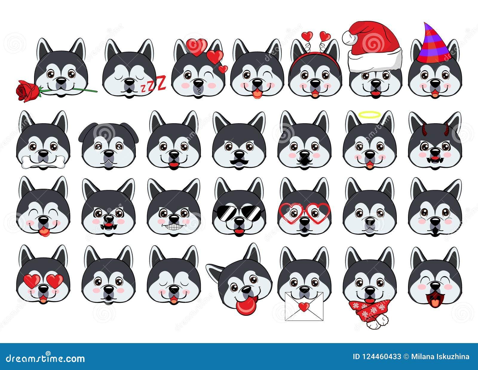 Ampuła ustawiająca głowy mali psy z różnymi emocjami i różnymi przedmiotami