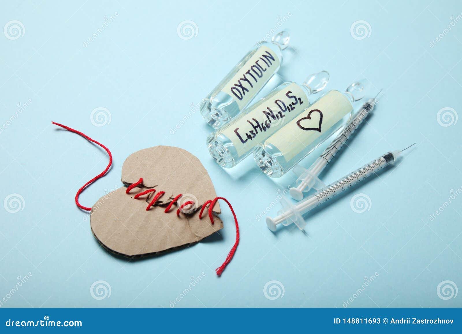 Ampu?ki z oxytocin, mi?o?? hormon Biochemie w ciele z?amane serce