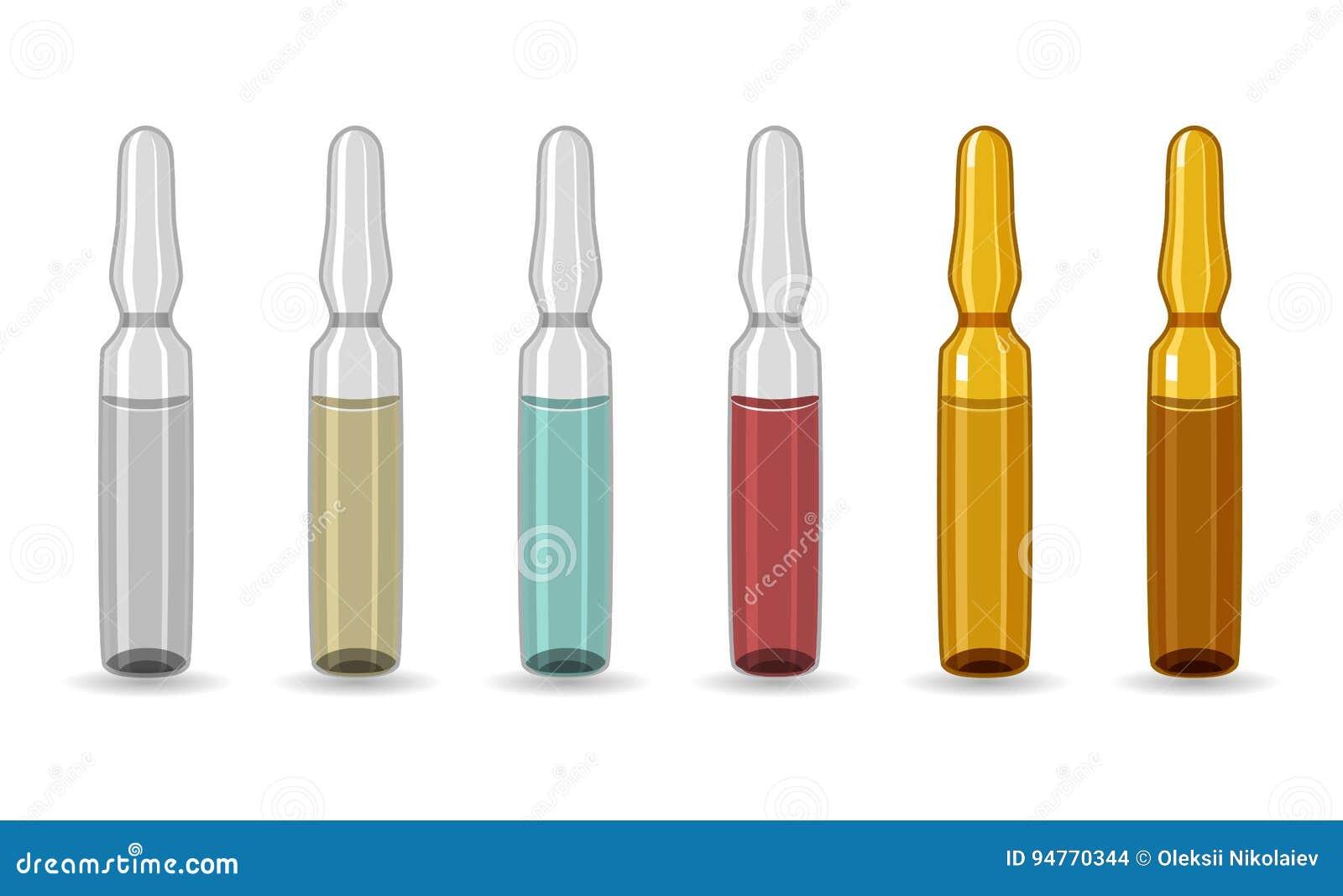 Ampul Reeks ampullen van verschillende kleuren Hermetisch verzegeld glasschip, voorgenomen voor opslag van geneeskrachtige voorbe