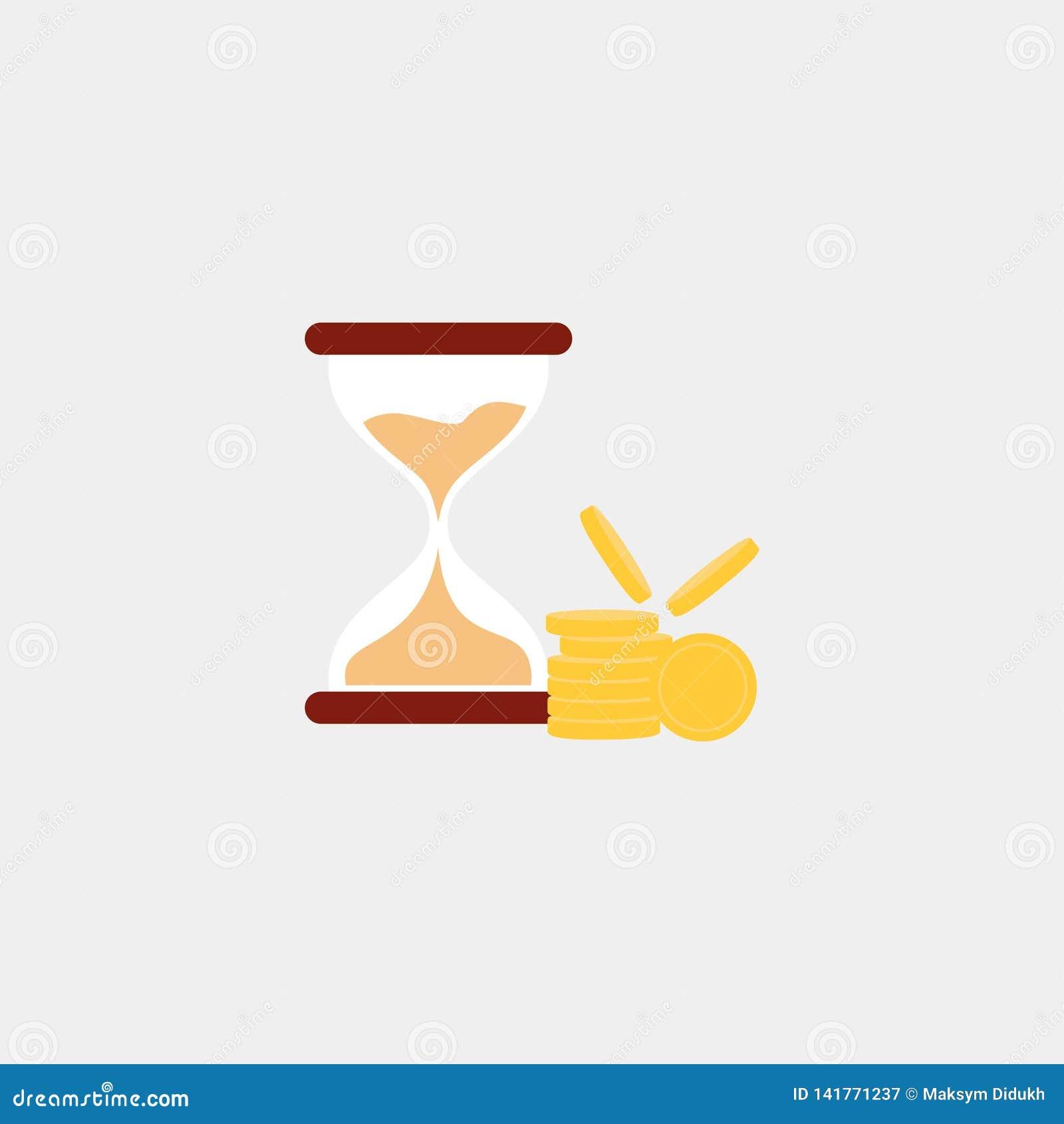 Ampulheta com ícone das moedas Tempo Ilustração do vetor Eps 10