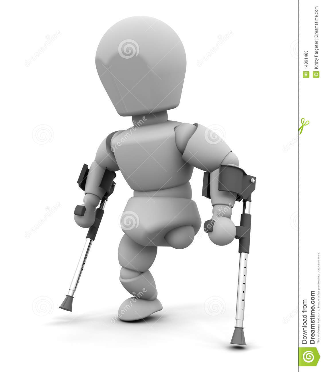 Amputee on crutches