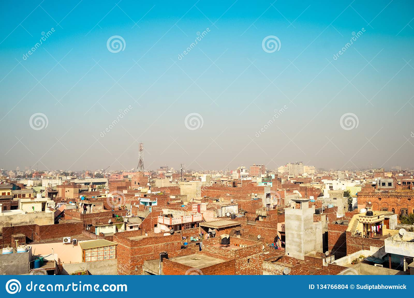 Amritsar, India. Downtown cityscape with top view on skyscrapers Image