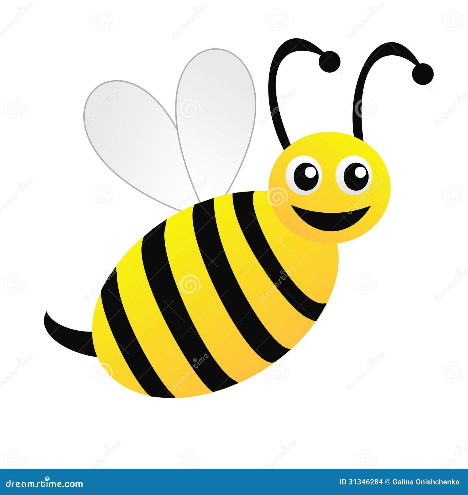 Amsante Gezeichnete Biene Auf Einem Weien Hintergrund Stockbilder Bild 31346284
