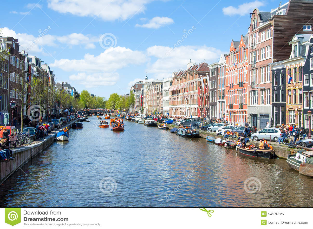 AMSTERDAM-APRIL 27: Amsterdam cityscape on King s Day, on April 27,2015, the Netherlands.
