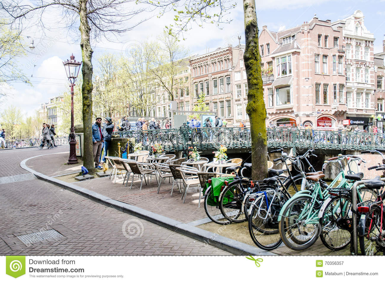 AMSTERDAM - APRIL 2016 - street scene with bikes and local people.