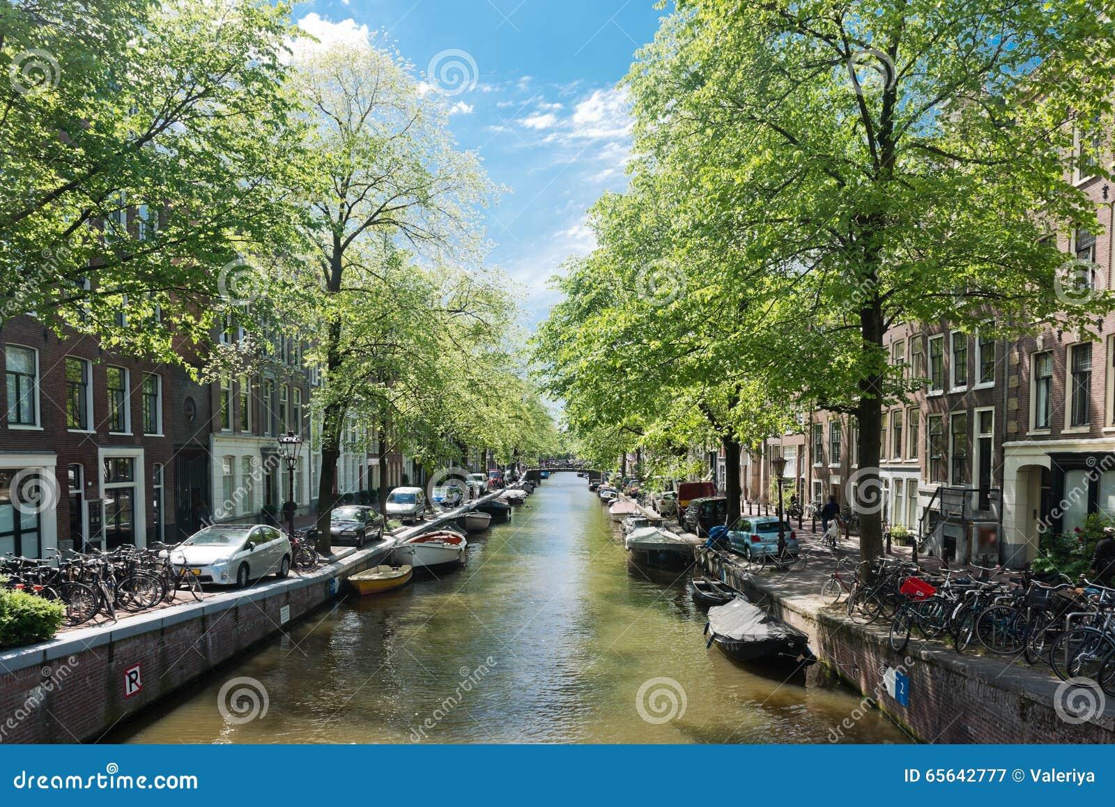 Amsterdam avec le canal vert dans le centre ville