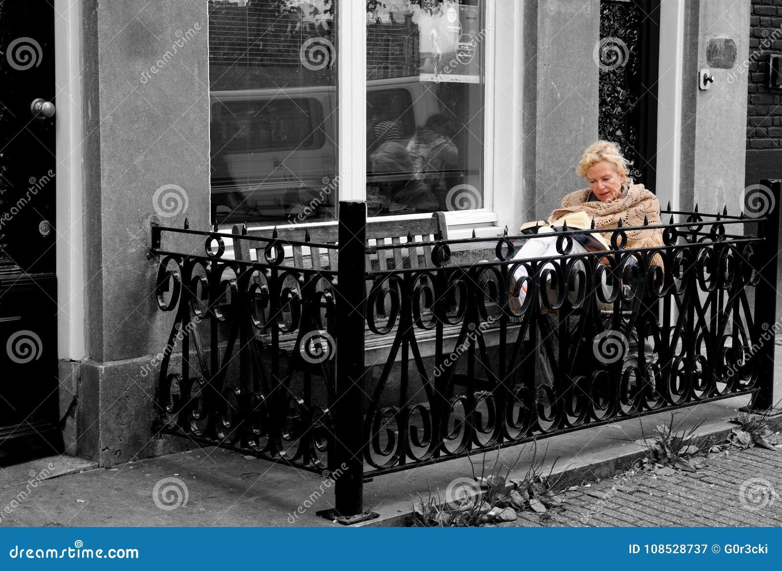 Reading a Book, Street Balcony, Nordic Outdoor Lifestyle, Beautiful Elder Blonde Woman, Amsterdam