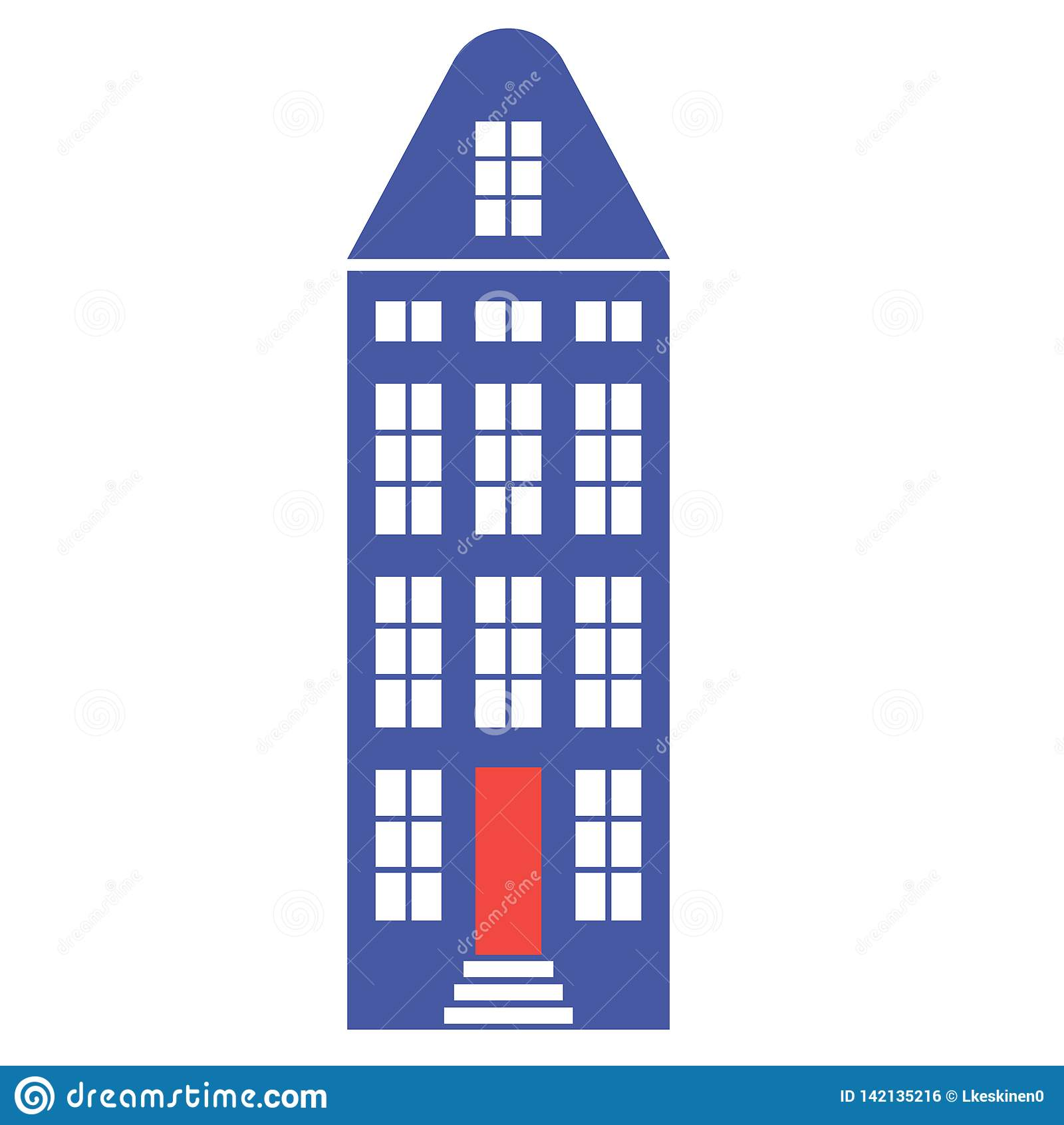 Amsterdam building flat color flat color illustration