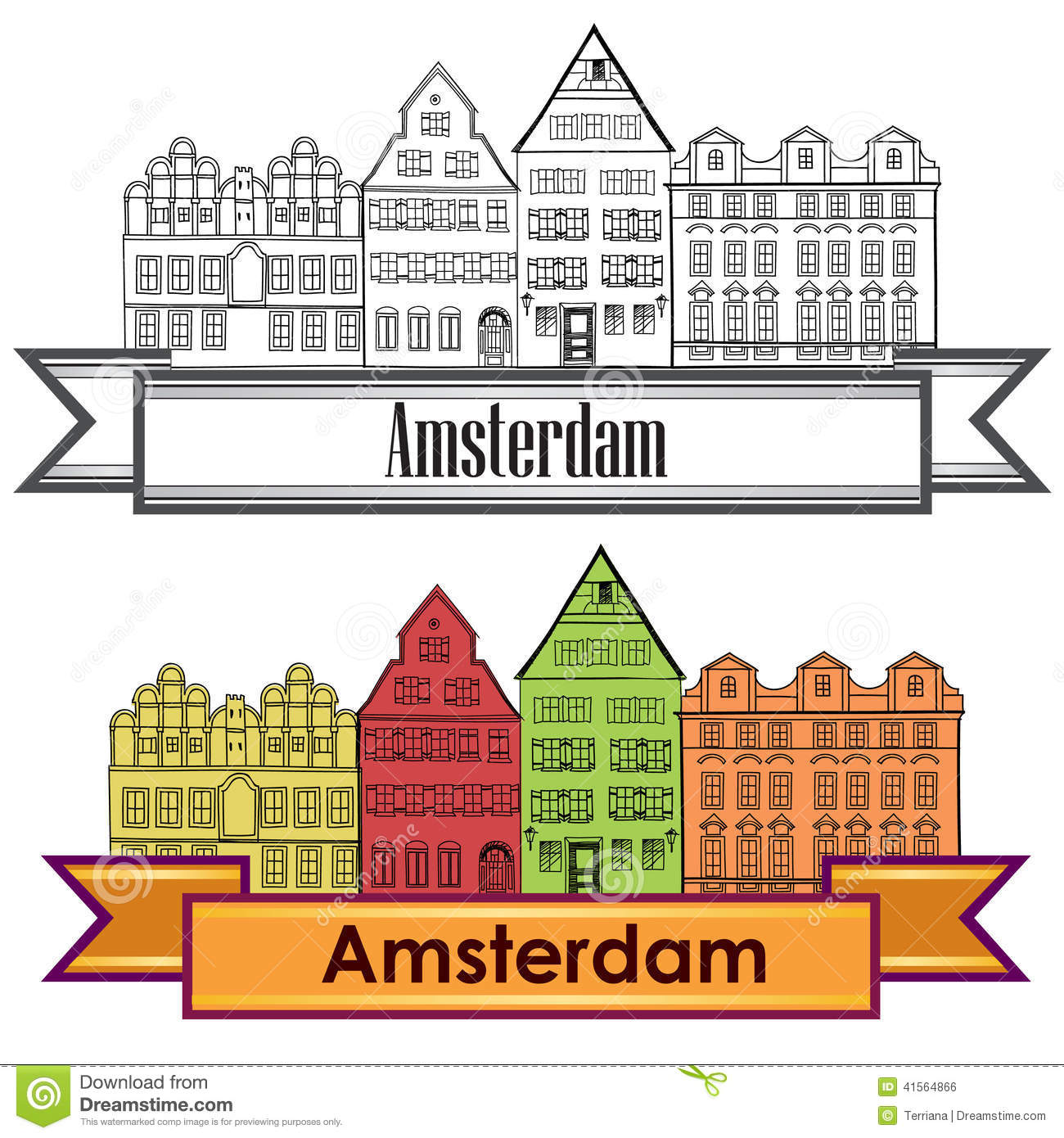 Amsterdam Canal Houses Netherlands Symbol Travel Europe Icon Stock Vector Image 41564866