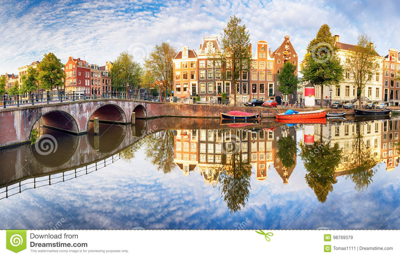 Amsterdam Canal houses vibrant reflections, Netherlands, panora