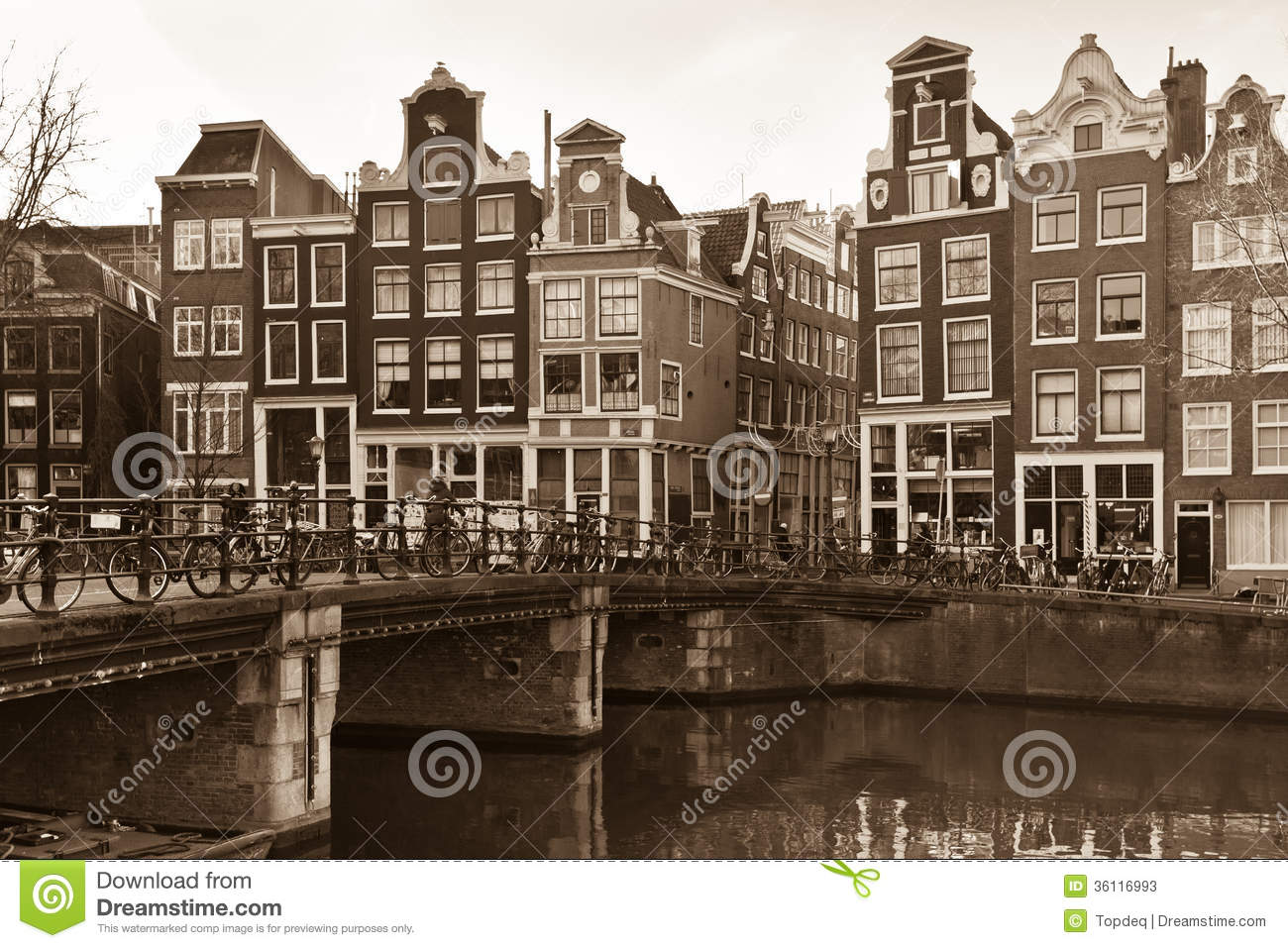 Amsterdam Canal Street View In Sepia Stock Photos