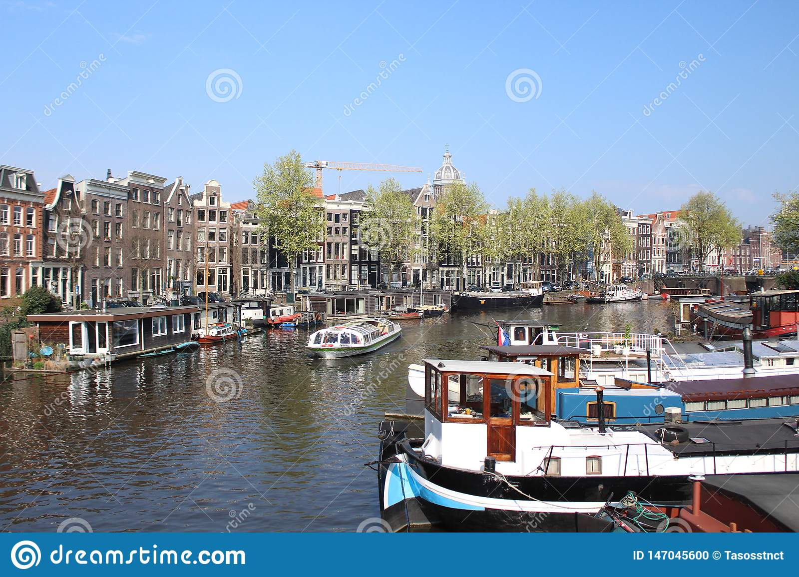 Picturesque neighborhood in the heart of amsterdam  with some amazing  reflections