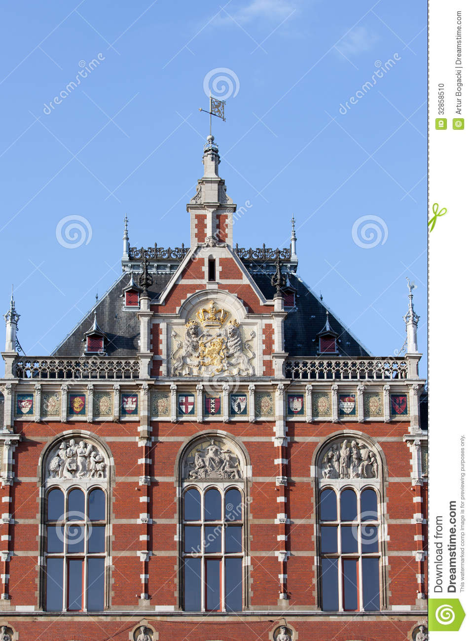 Amsterdam Central Station Architectural Details Stock