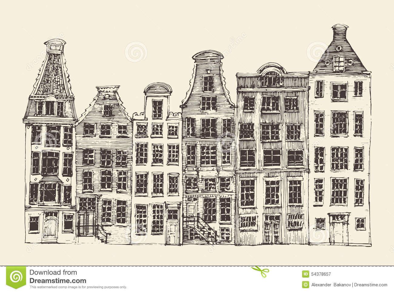 Amsterdam city architecture vintage engraved for Architecture antique