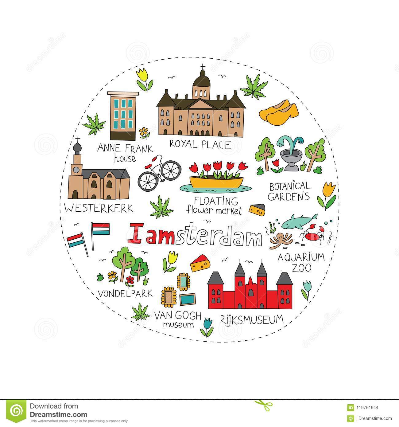 Amsterdam City Doodle Stock Vector Illustration Of Architecture