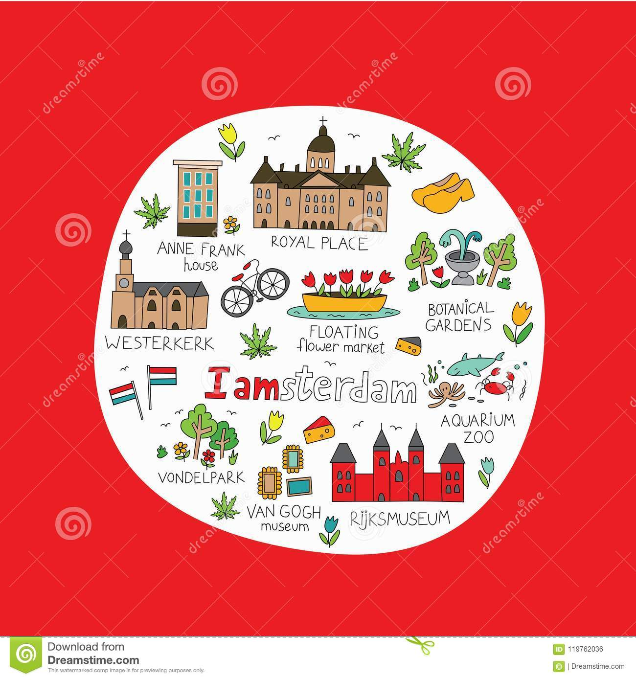 Amsterdam City Doodle Stock Vector Illustration Of Card 119762036