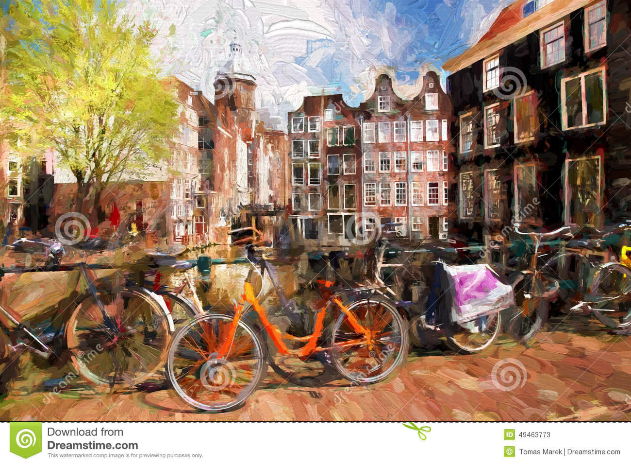amsterdam city in holland artwork in painting style stock image image of amsterdam artwork. Black Bedroom Furniture Sets. Home Design Ideas
