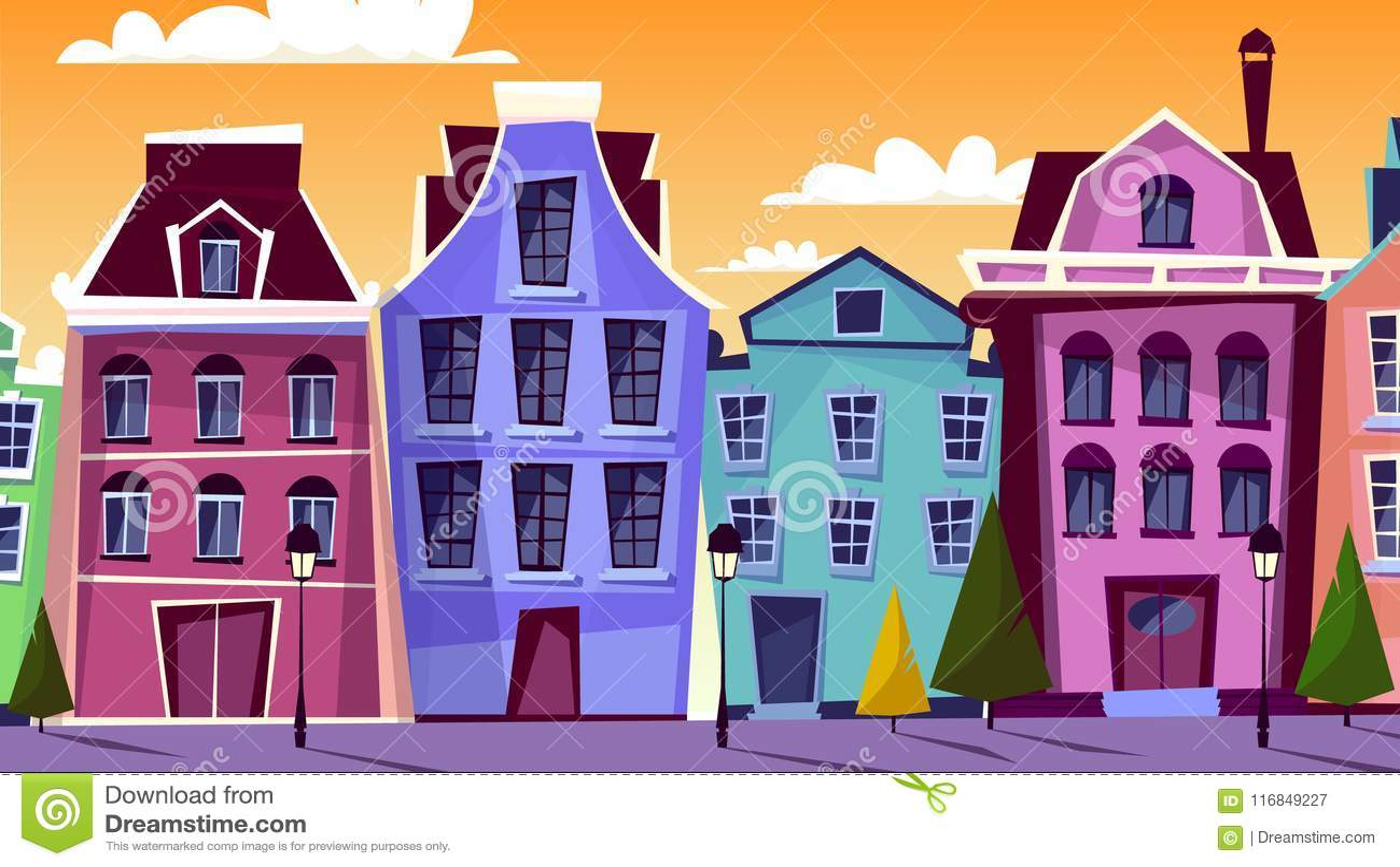 Amsterdam cityscape vector cartoon illustration