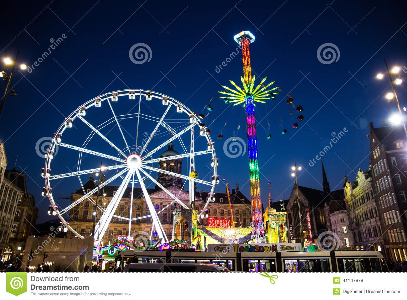 Amsterdam fun fair editorial stock image image of holland for Amusement park netherlands