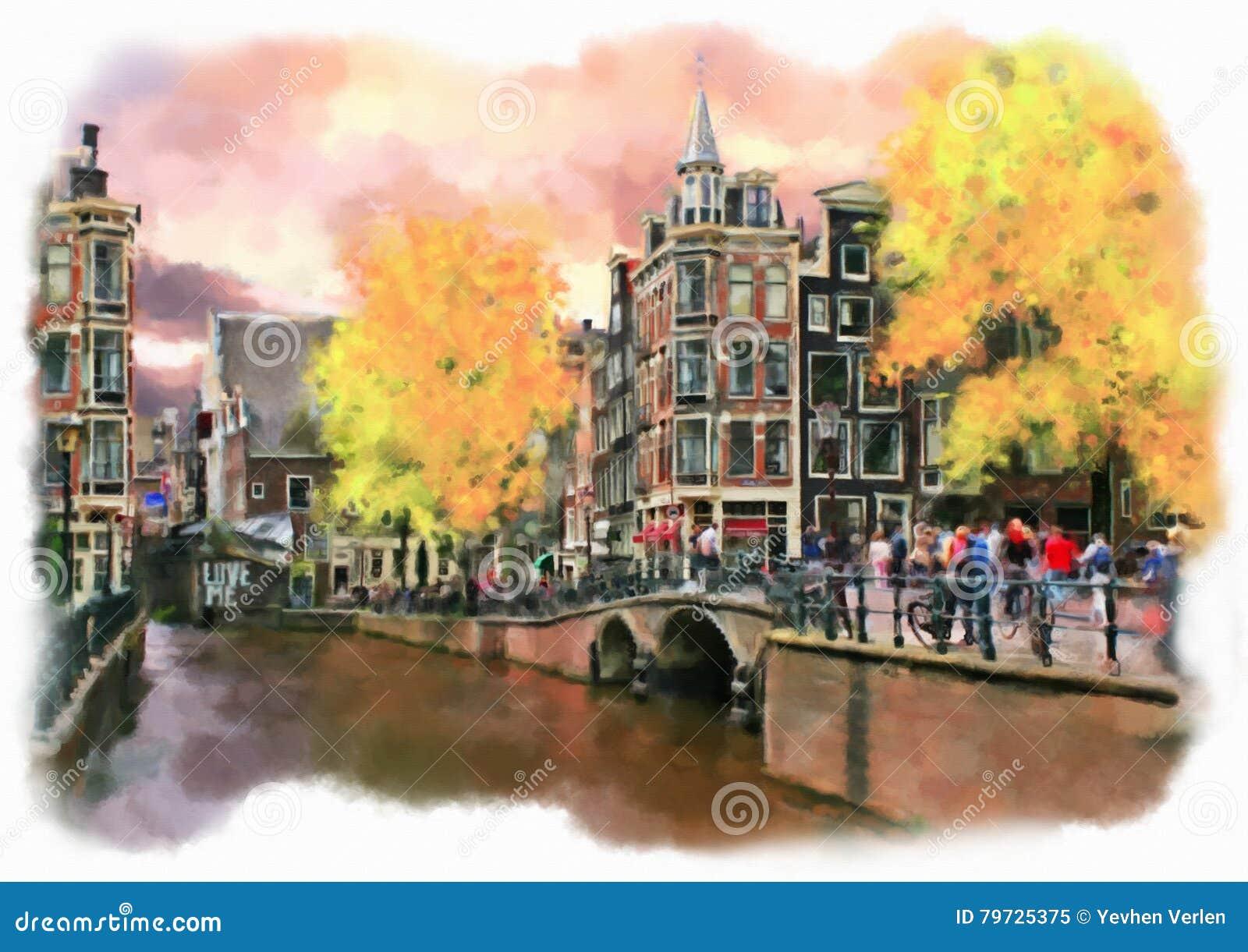 Amsterdam hizo en estilo artístico de la acuarela