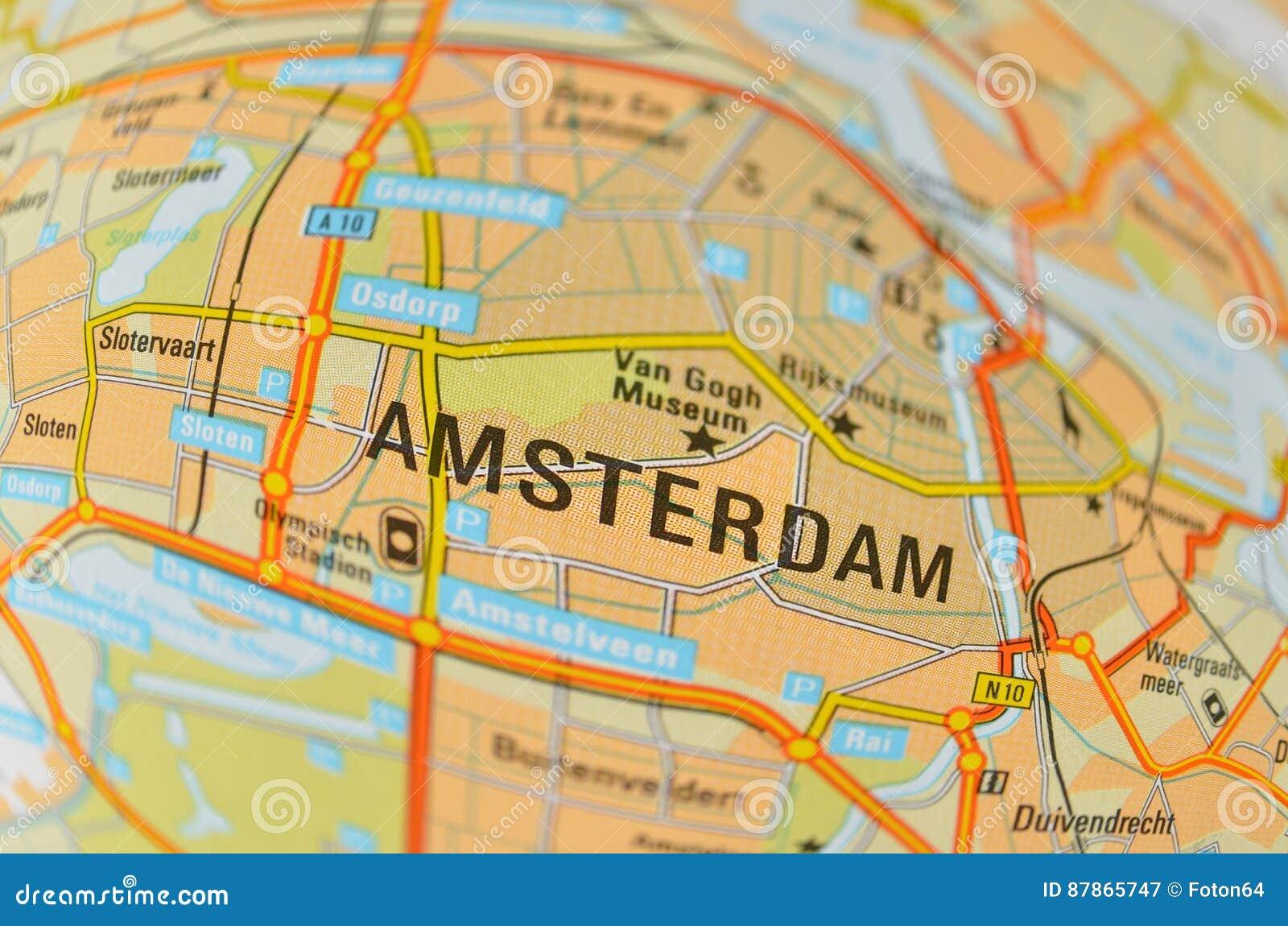 Amsterdam Karte Stockbild Bild Von Verzerrt Anschluss 87865747