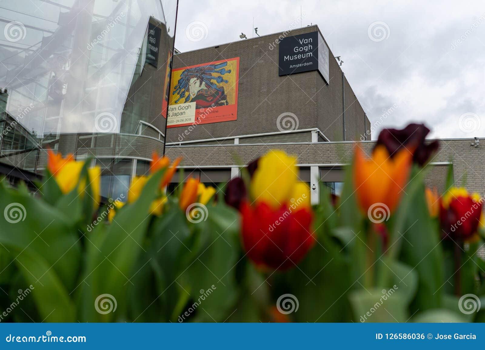 Amsterdam Nederländerna - April 6, 2018: Blommor utanför skåpbilen