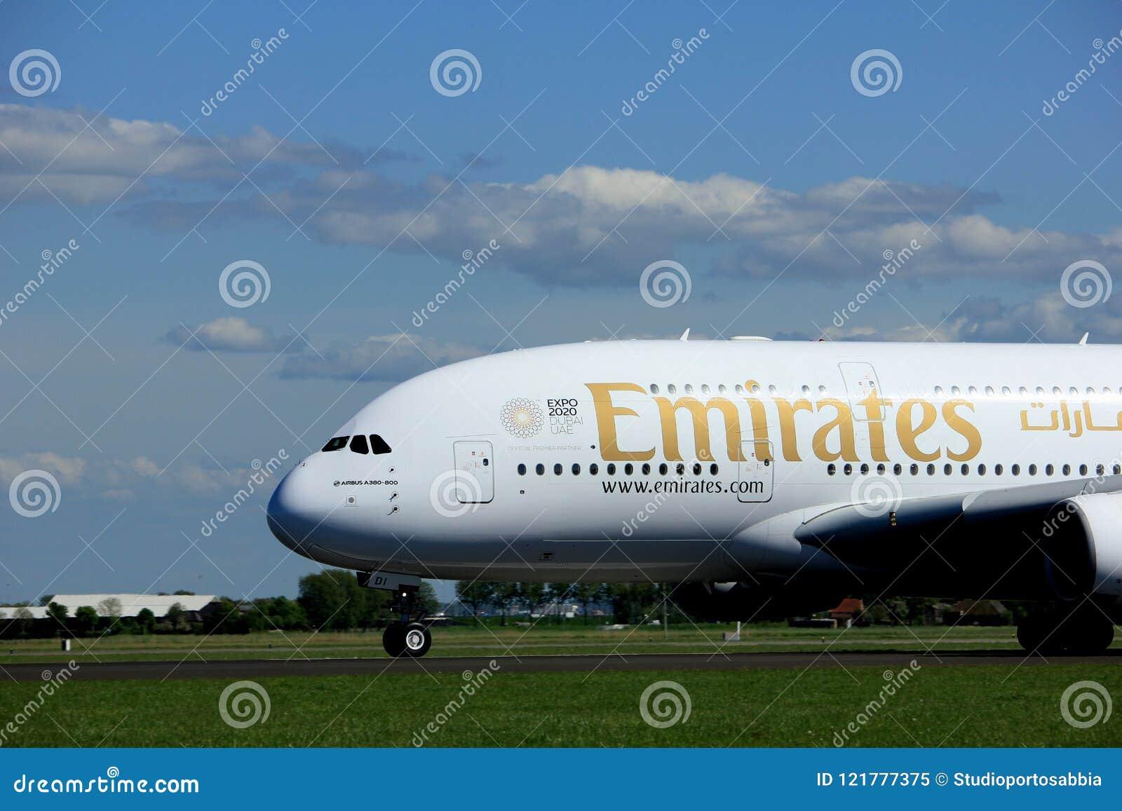 Amsterdam Nederländerna - Maj 3rd 2018: A6--EDIemiratflygbuss A380-800