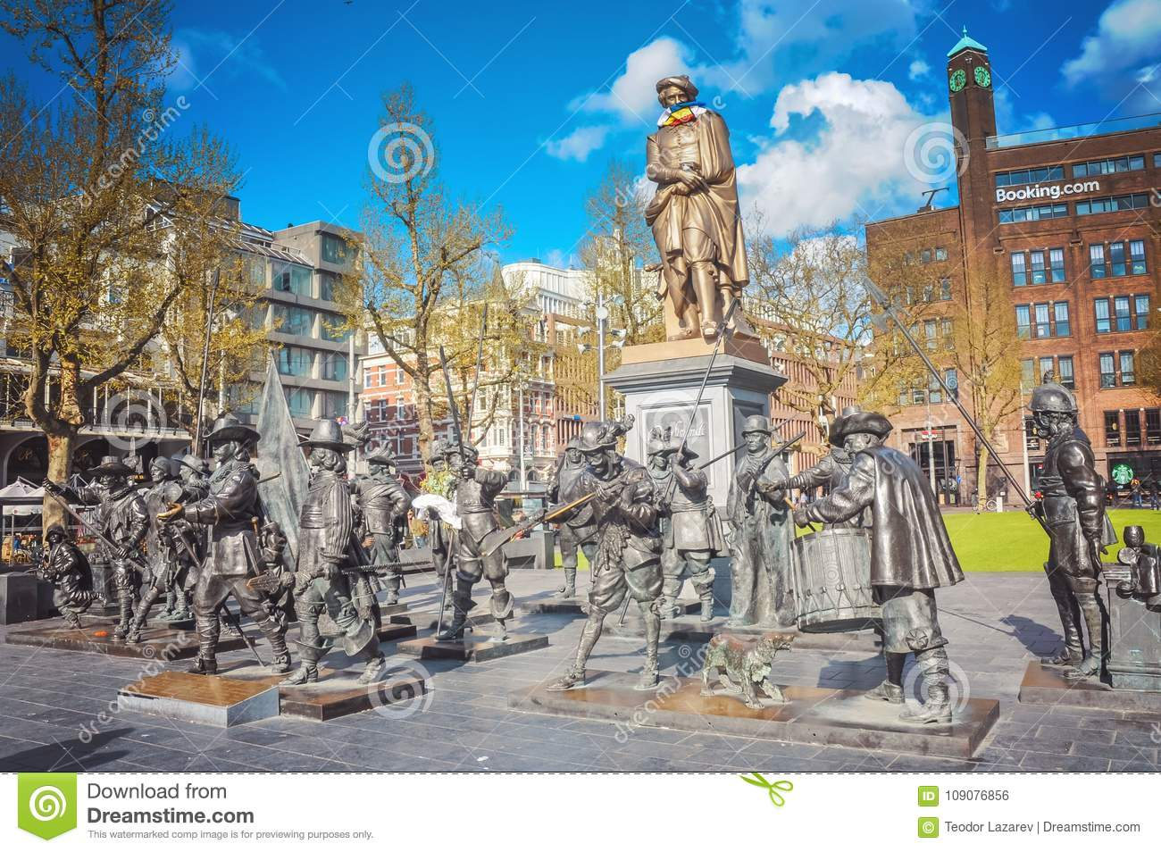 Rembrandt Monument In Amsterdam Editorial Photo - Image of amsterdam