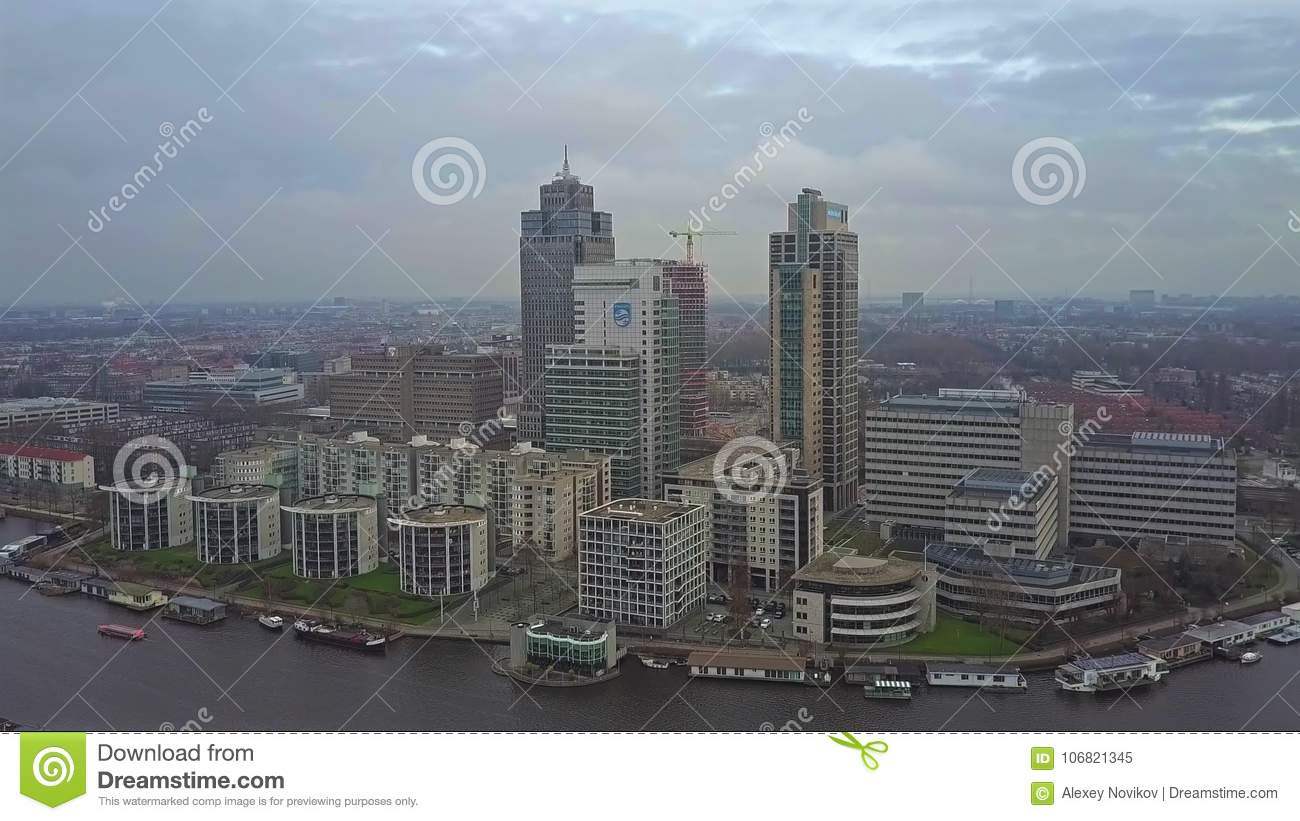 AMSTERDAM, NETHERLANDS - DECEMBER 29, 2017  Aerial View Of A