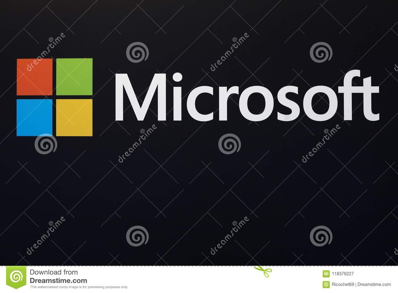 Microsoft logo on a wall editorial photography  Image of industry