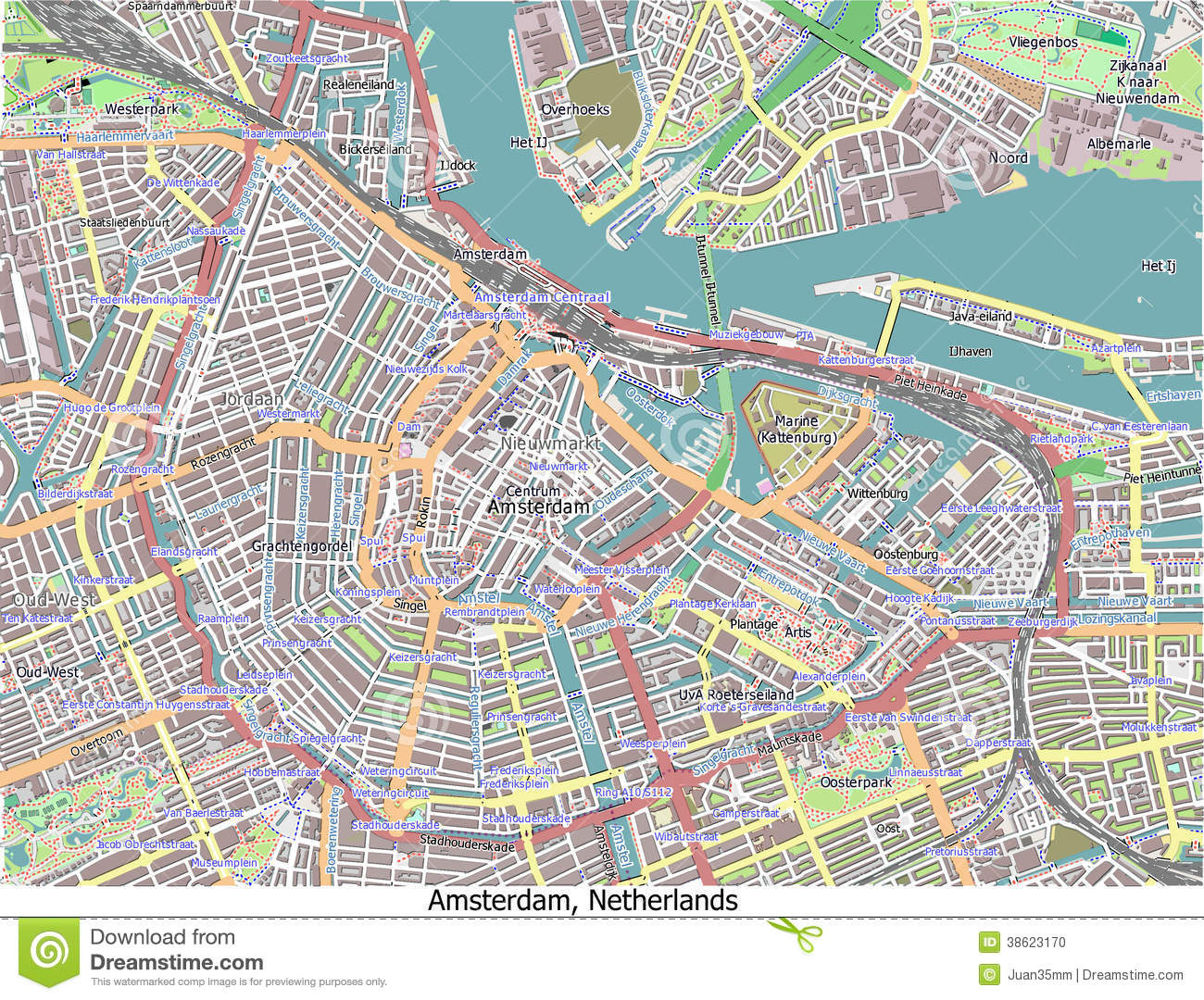 Amsterdam netherlands hi res aerial view map stock photo image 38623170 - Carte amsterdam a imprimer ...
