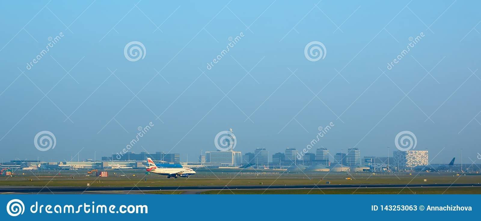 Amsterdam, Netherlands - March 11, 2016: Amsterdam Airport Schiphol in Netherlands. AMS is the Netherlands` main