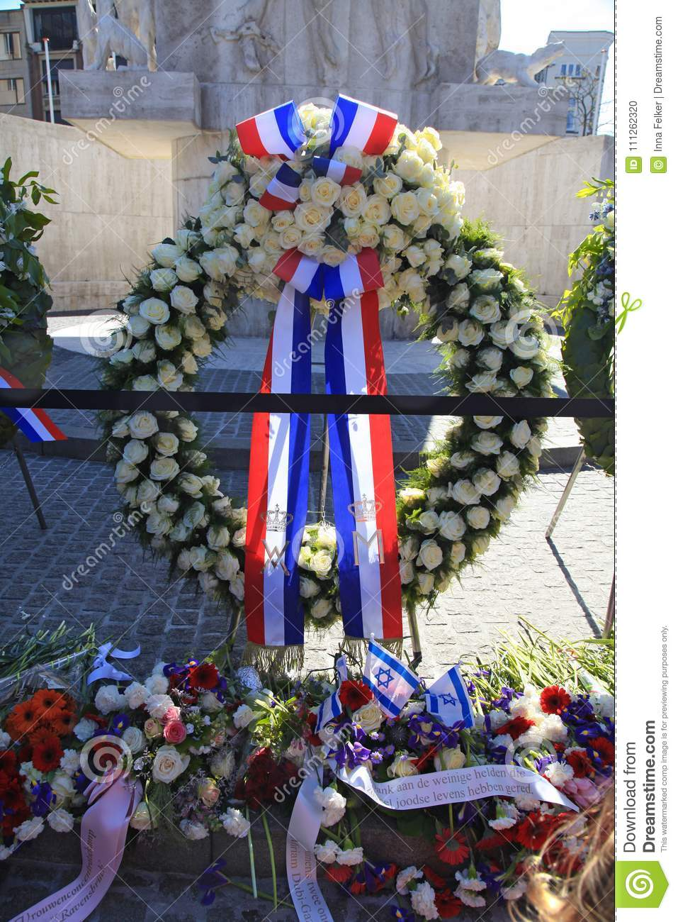 Flowers near The National Monument to memorialize the victims of