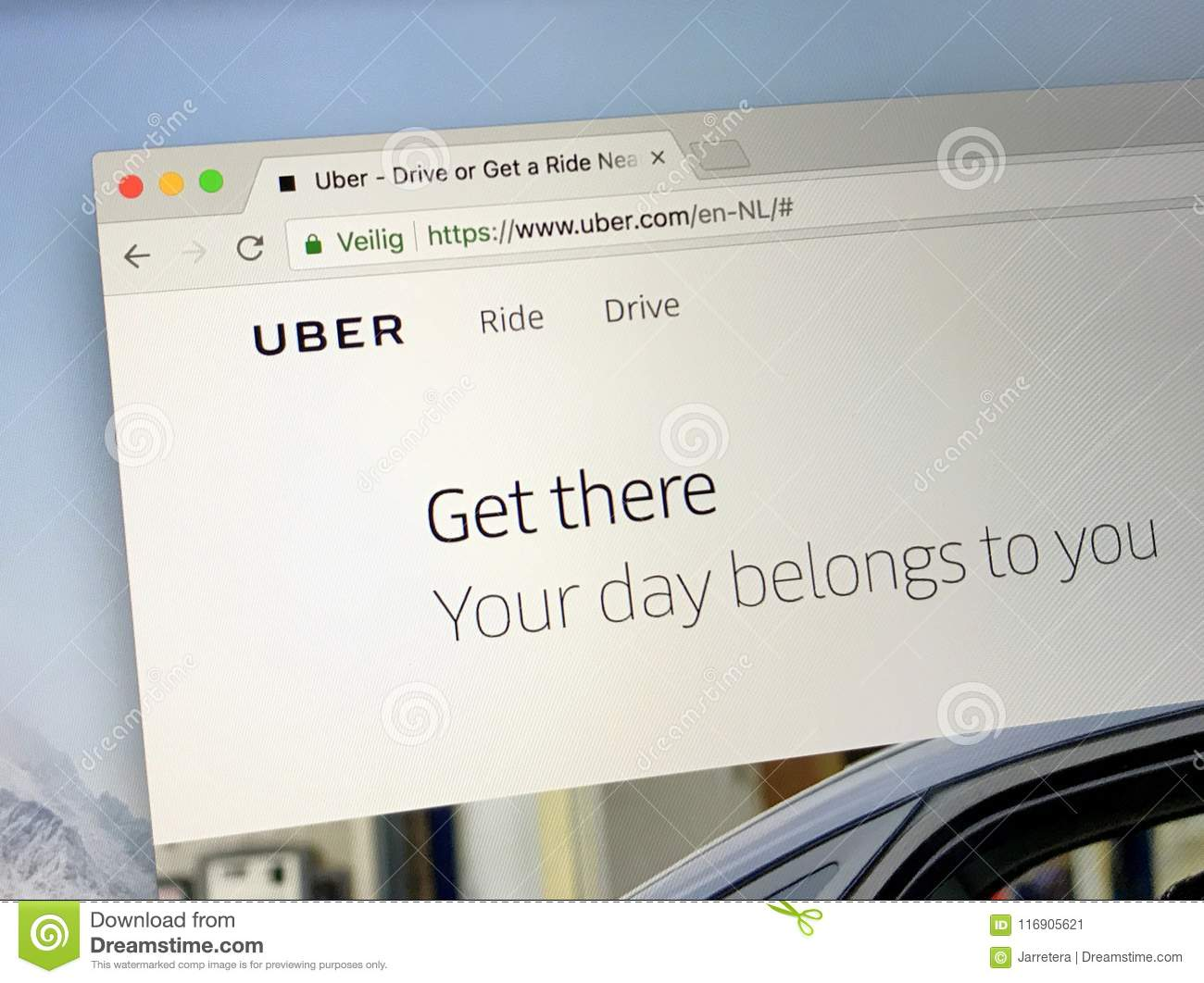 Fficial homepage of Uber editorial photo  Image of sign - 116905621