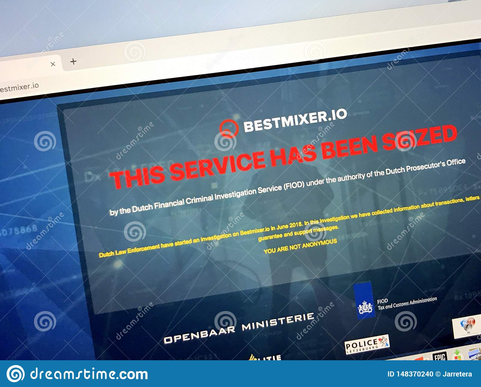 Seized Website Of Bestmixer oi Editorial Image - Image of
