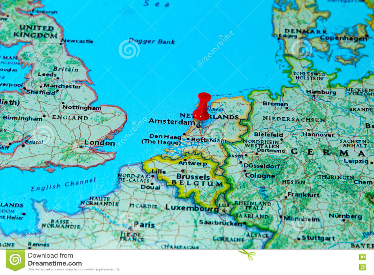 Amsterdam Netherlands Pinned On A Map Of Europe Stock Image