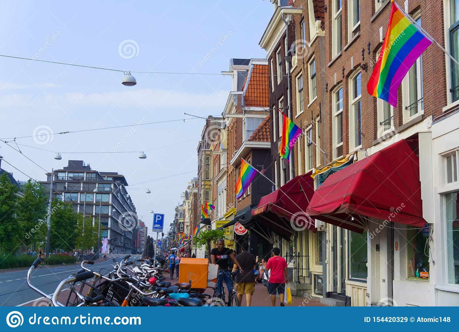 27-07-2019 amsterdam the netherlands pride parade 2019 amsterdam covered in rainbow flags