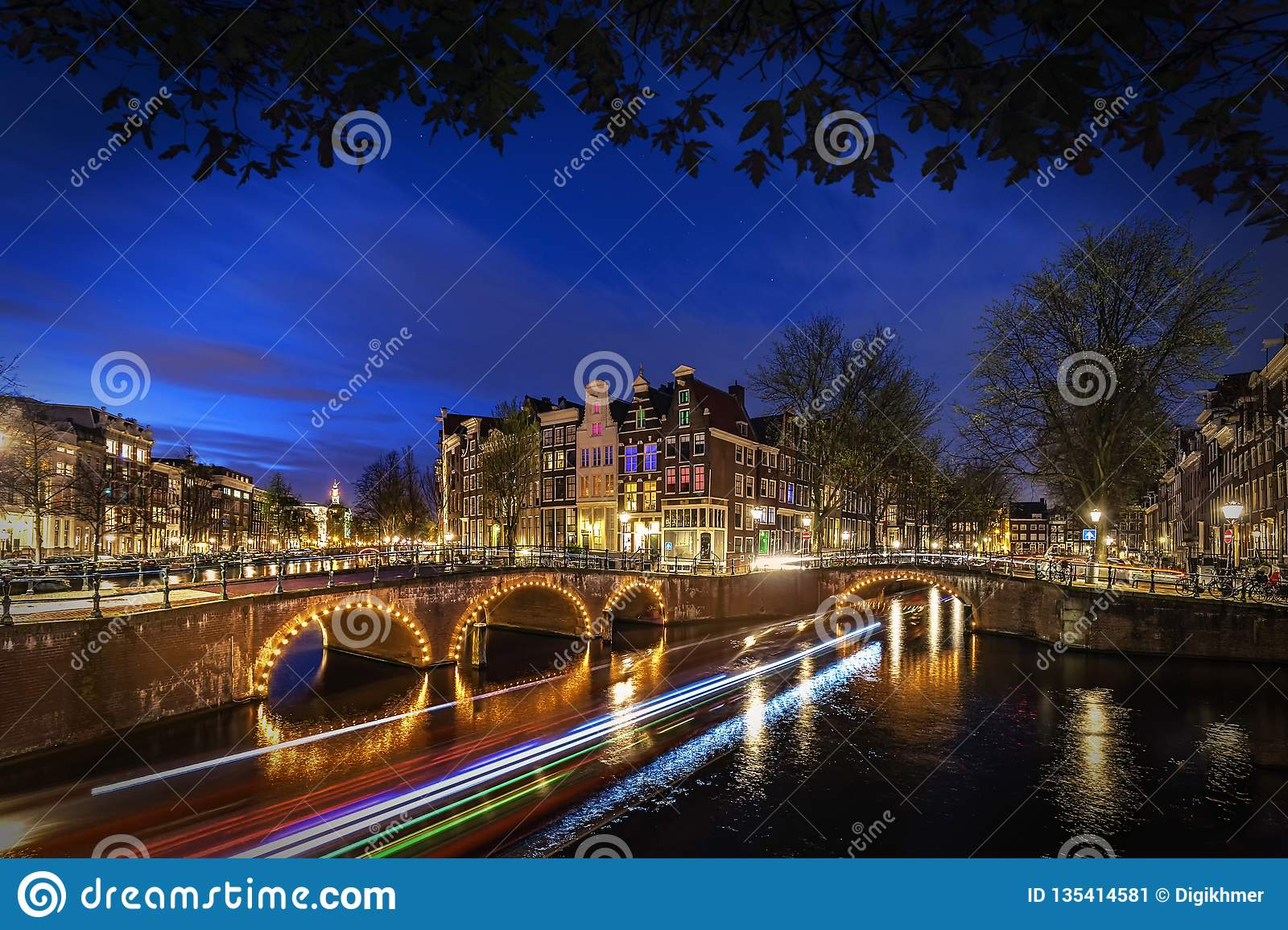 Amsterdam`s canal at night