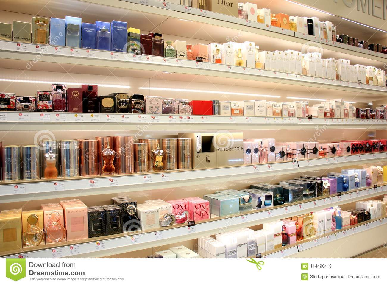 Amsterdam Schiphol Airport, the Netherlands - april 14th 2018  different  brands of perfume f97062be66a6