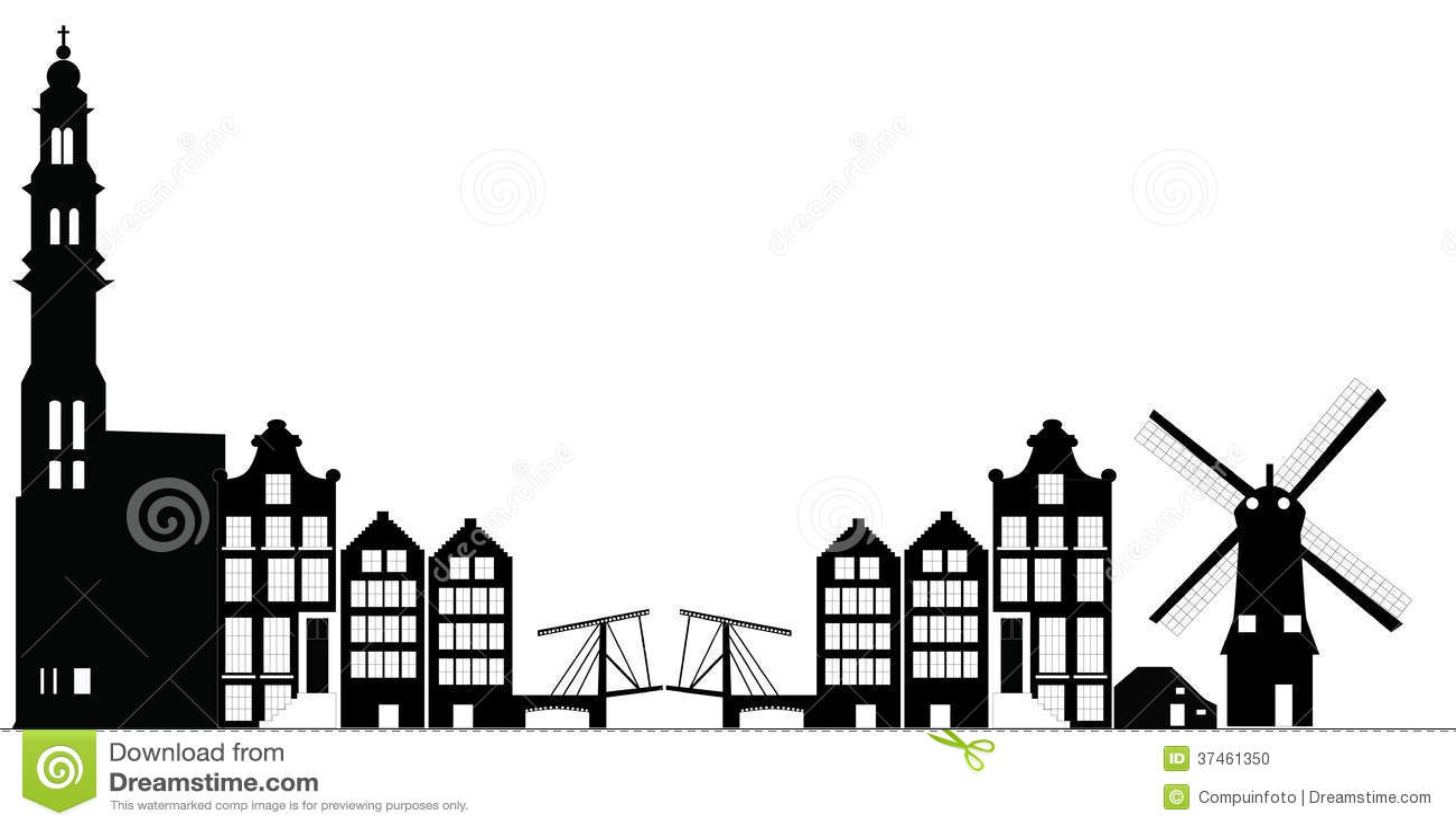 Amsterdam main city netherlands skyline with church tower and bridge.