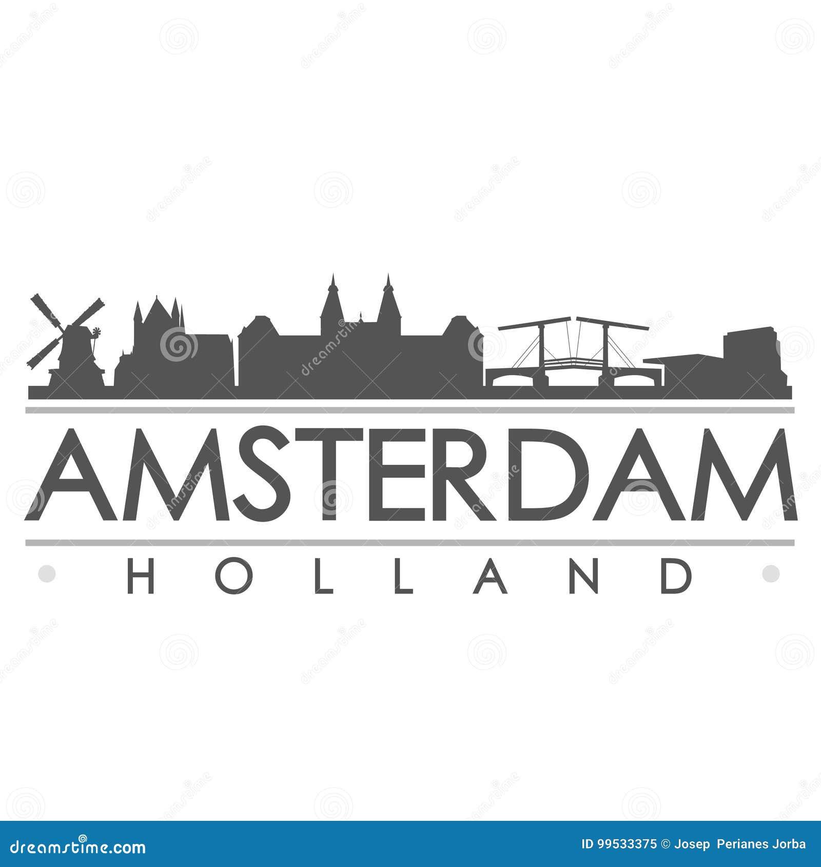 Amsterdam-Skyline-Schattenbild-Design-Stadt-Vektor-Kunst