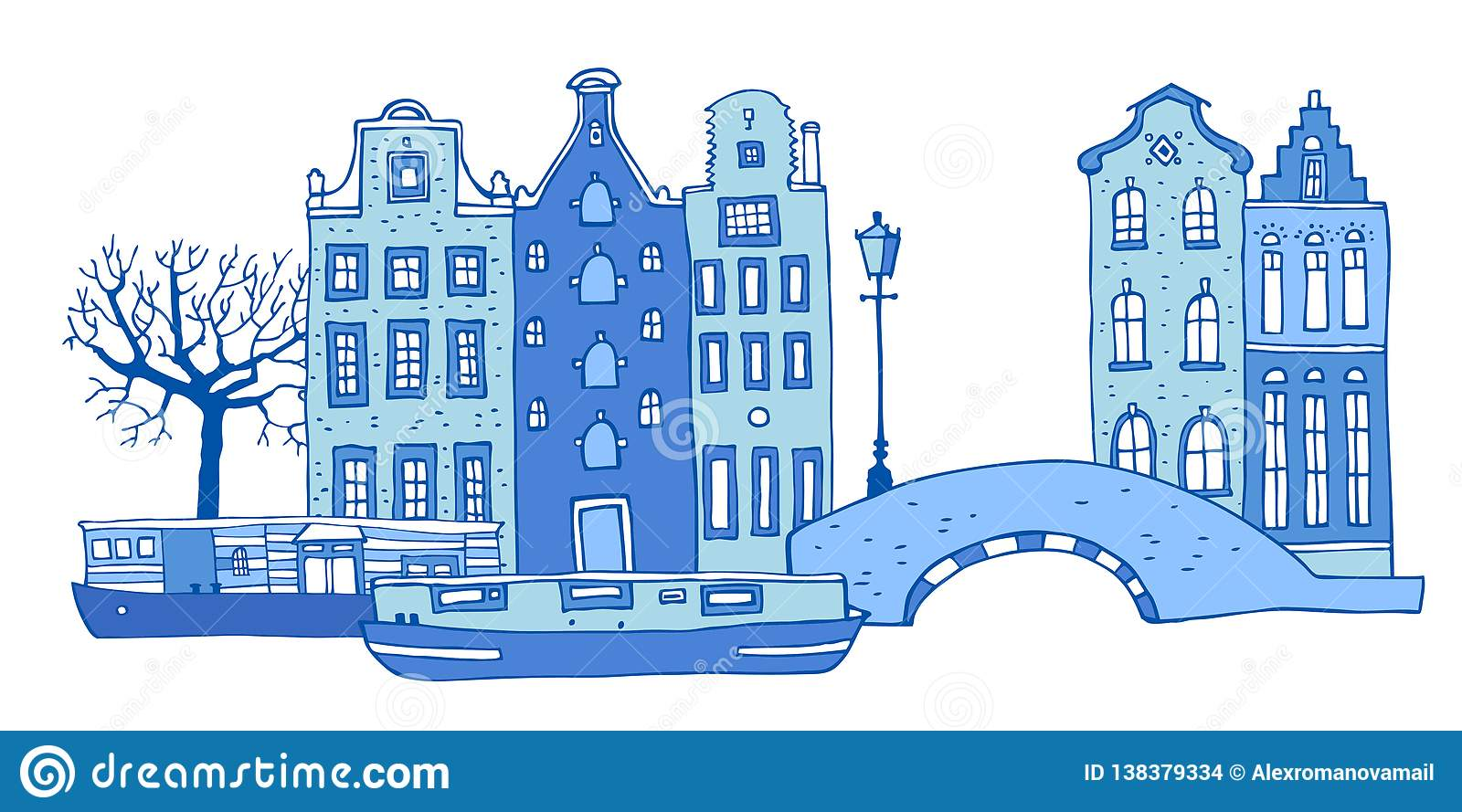 Amsterdam street scene. Vector outline sketch hand drawn illustration. Houses with bridge, lantern, trees and boats