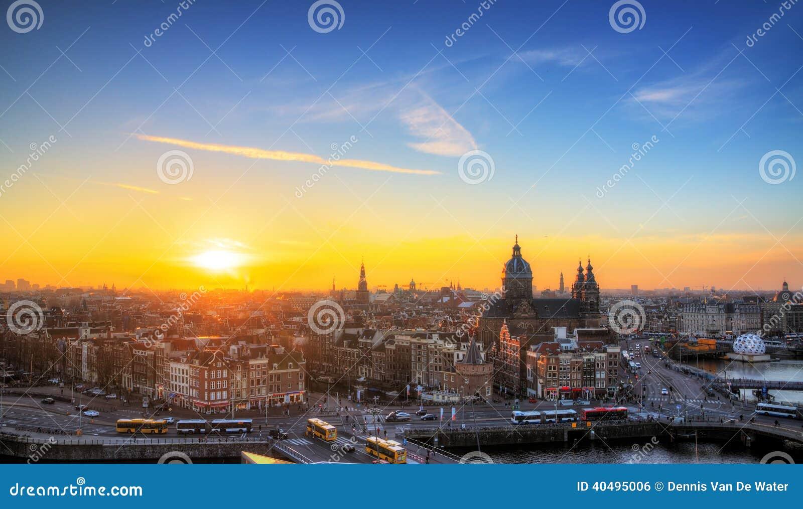 Amsterdam Sunset Skyline Stock Photo Image 40495006