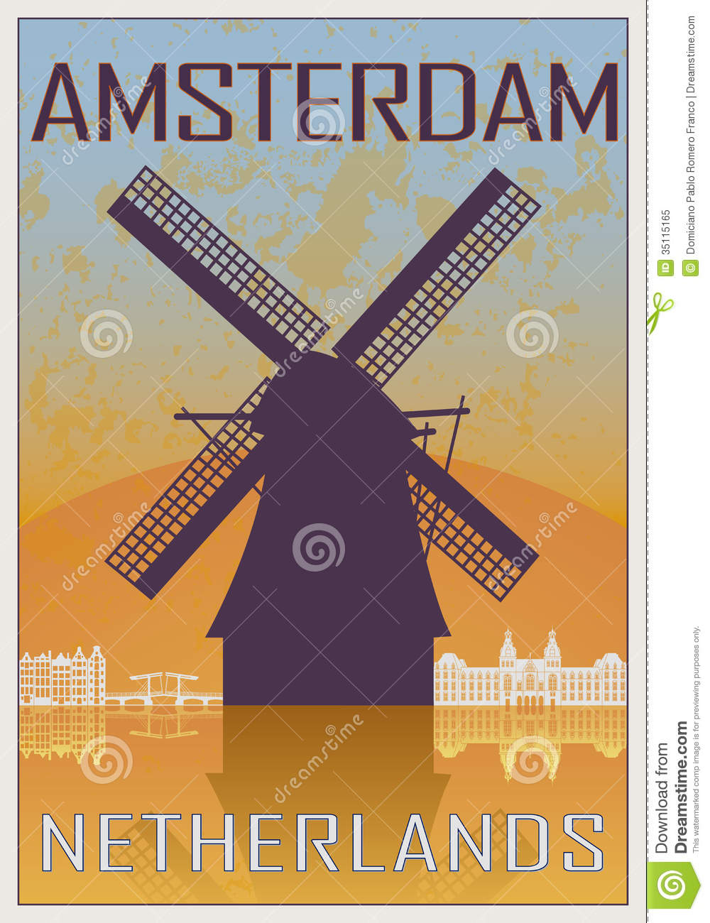 Amsterdam vintage poster in orange and blue textured background with ...