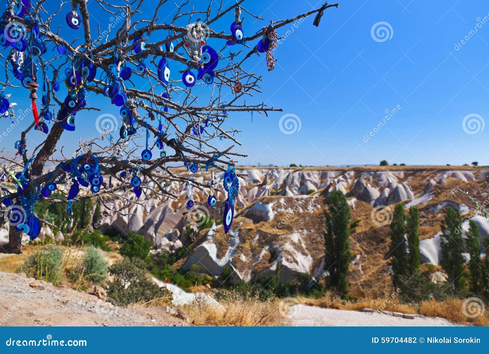 Amulet da árvore e do olho mau em Cappadocia Turquia
